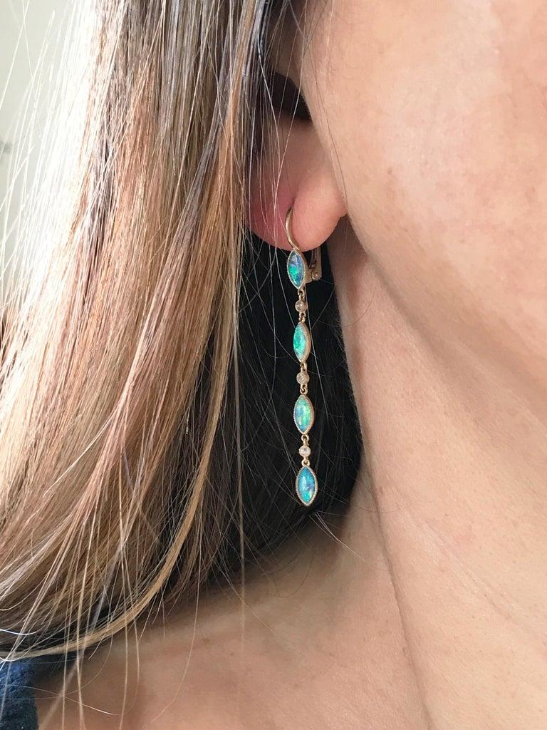 Rose Cut Dalben Australian Opal Diamond Gold Drop Earrings For Sale