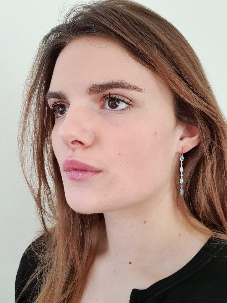 Contemporary Dalben Australian Opal Diamond Gold Drop Earrings For Sale