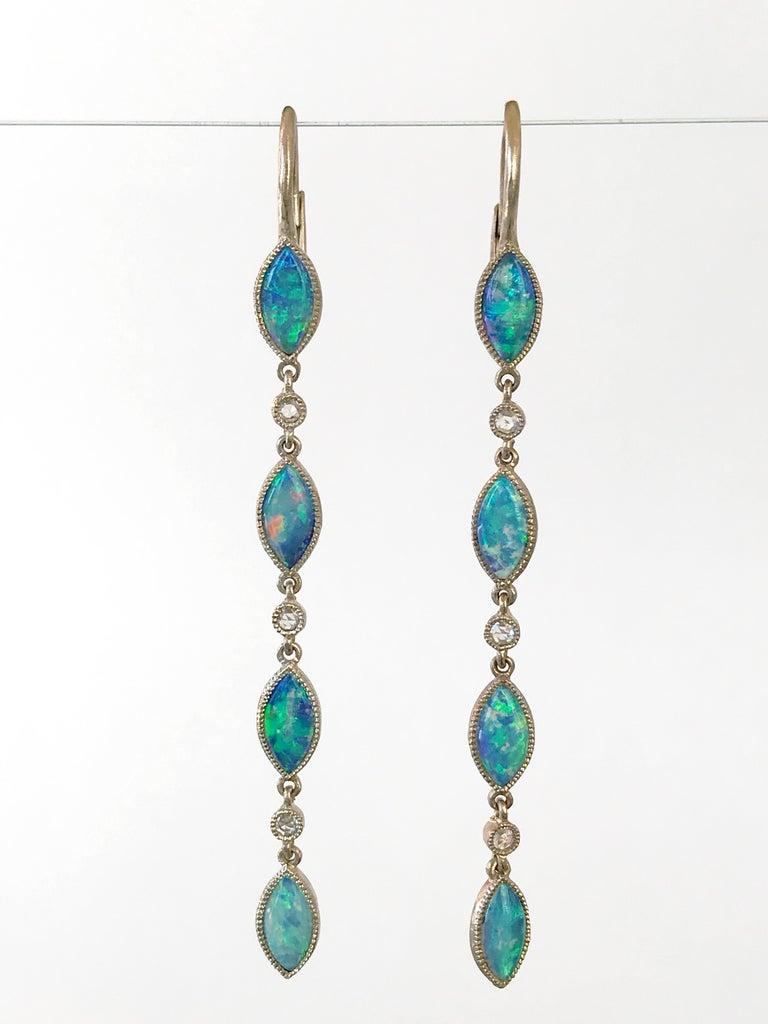 Women's Dalben Australian Opal Diamond Gold Drop Earrings For Sale