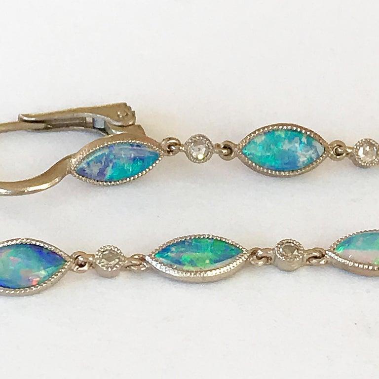 Dalben Australian Opal Diamond Gold Drop Earrings For Sale 1