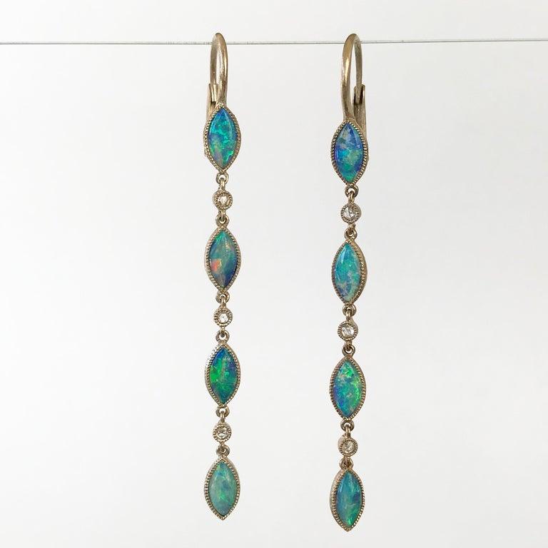 Dalben Australian Opal Diamond Gold Drop Earrings For Sale 2