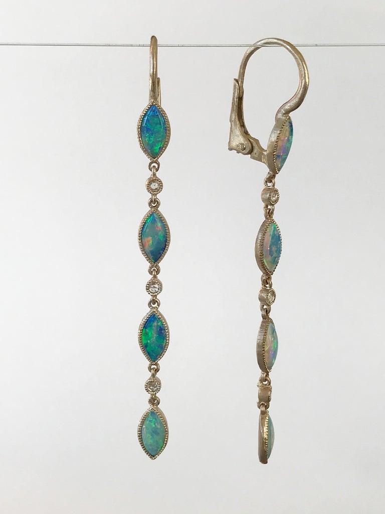 Dalben Australian Opal Diamond Gold Drop Earrings For Sale 3
