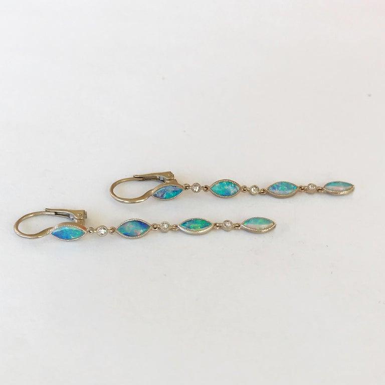 Dalben Australian Opal Diamond Gold Drop Earrings For Sale 4