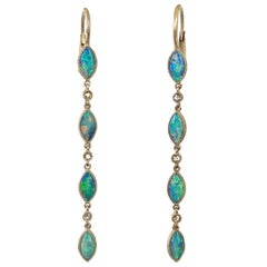 Dalben Australian Opal Diamond Gold Drop Earrings