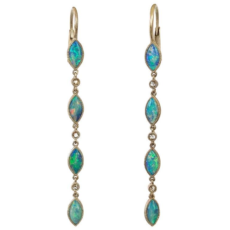 Dalben Australian Opal Diamond Gold Drop Earrings For Sale