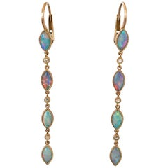 Dalben Australian Opal Diamond Rose Gold Drop Earrings