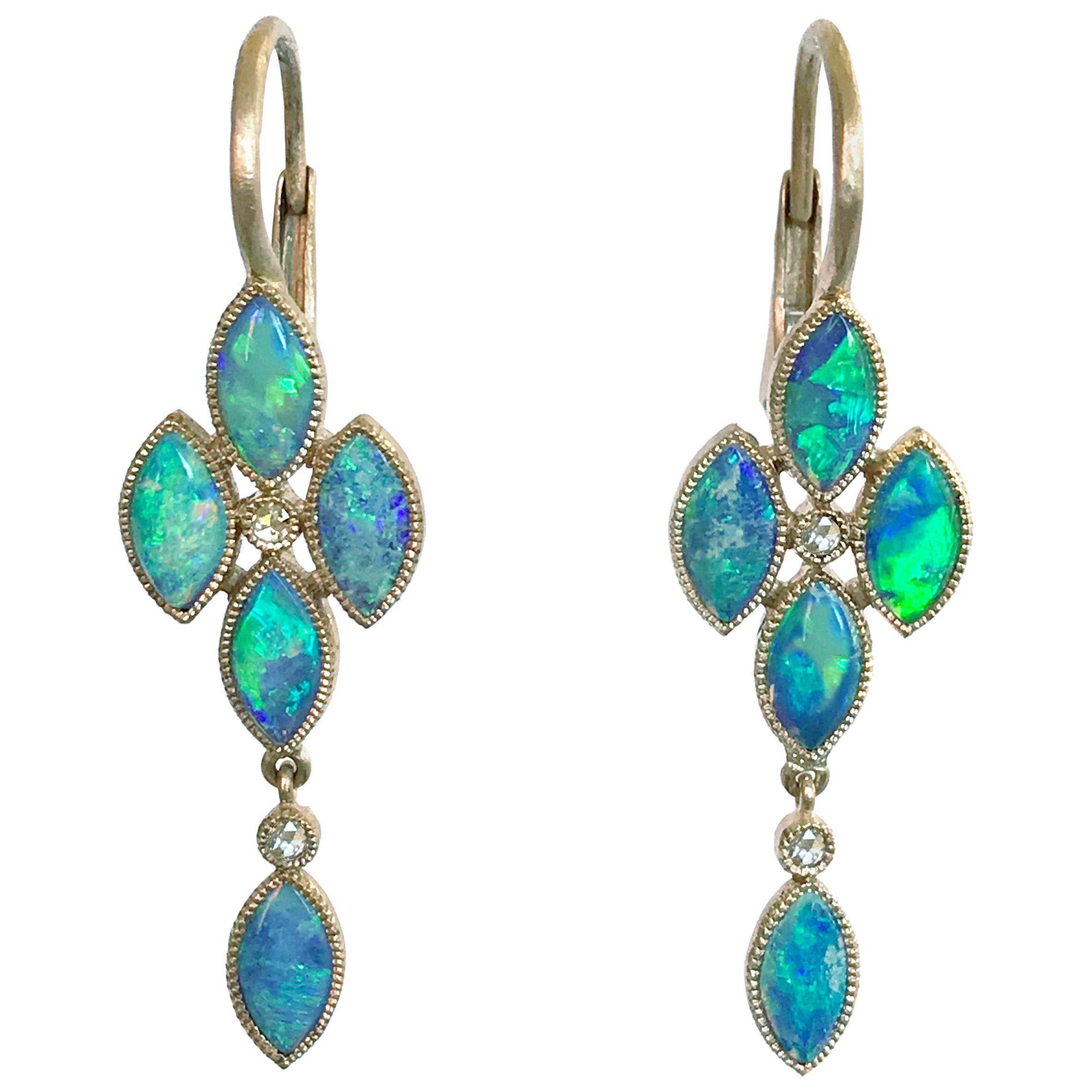 Dalben Australian Opal Rose Cut Diamond Gold Drop Earrings