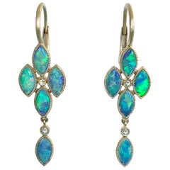 Dalben Australian Opal Rose Cut Diamond Gold Drop Earrings