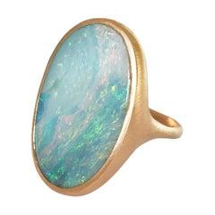 Dalben Big Oval Australian Boulder Opal Rose Gold Ring