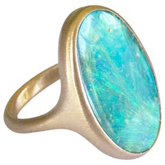 Dalben Big Oval Australian Boulder Opal Rose Gold Ring