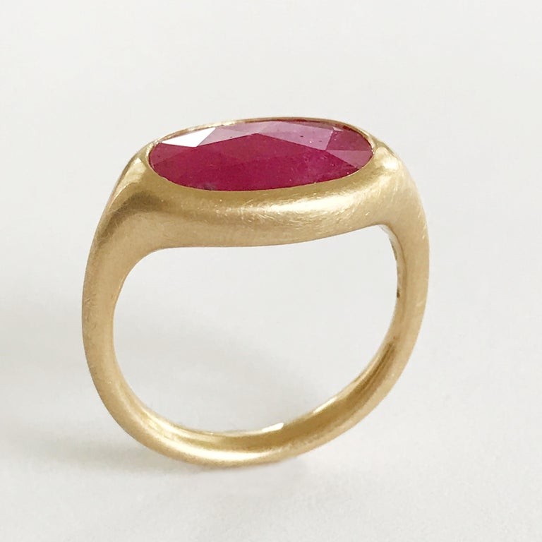 Dalben Big Oval Rose Cut Slice Ruby Yellow Gold Ring In New Condition For Sale In Como, IT
