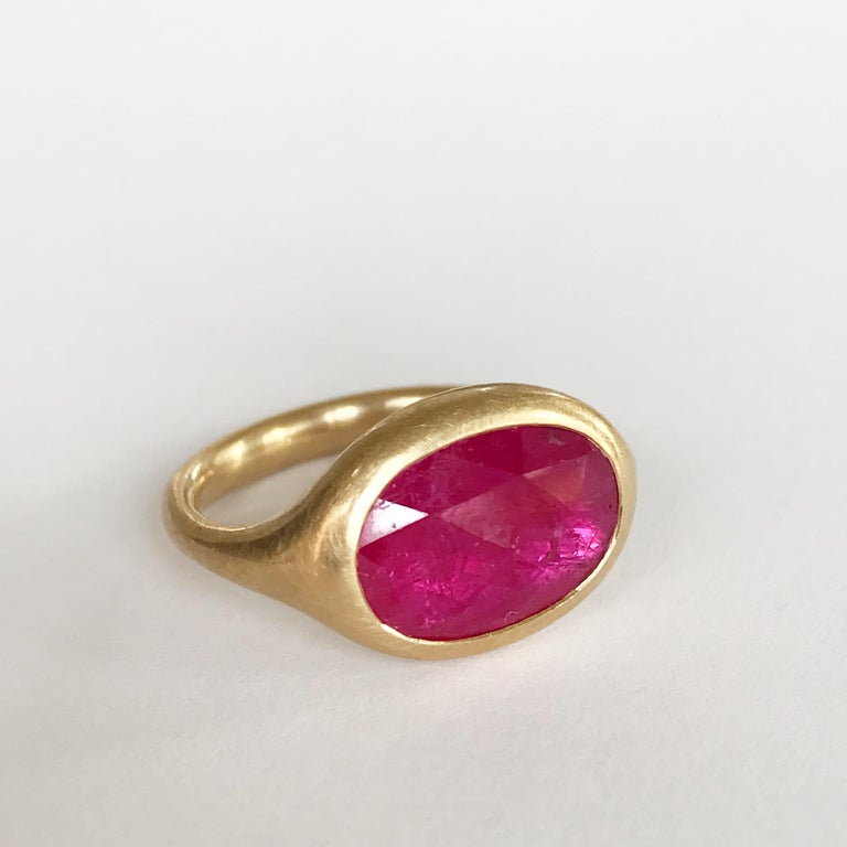Women's Dalben Big Oval Rose Cut Slice Ruby Yellow Gold Ring For Sale
