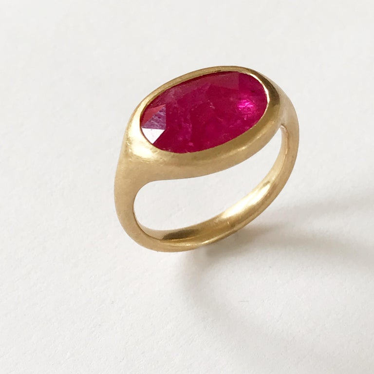 Dalben Big Oval Rose Cut Slice Ruby Yellow Gold Ring For Sale 1