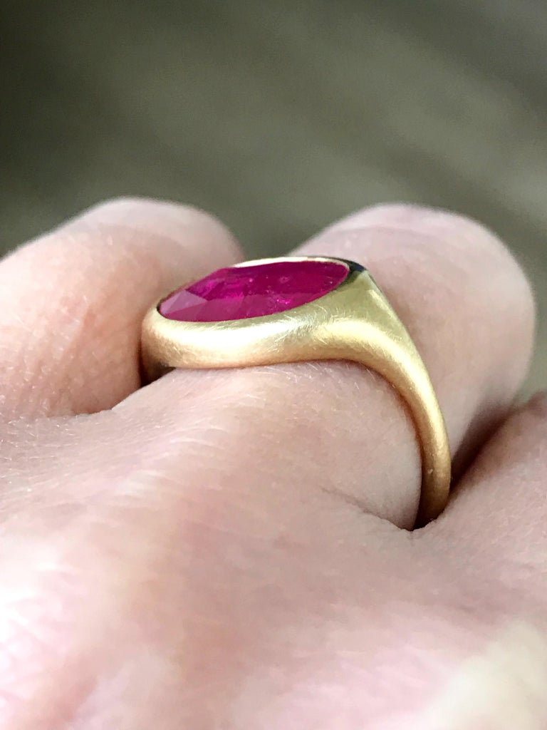 Dalben Big Oval Rose Cut Slice Ruby Yellow Gold Ring For Sale 3
