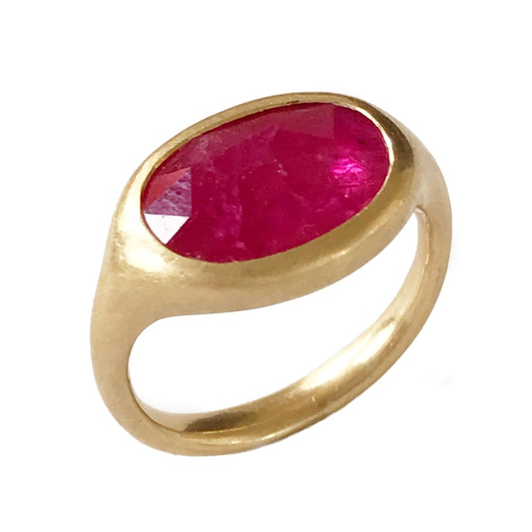 Dalben Big Oval Rose Cut Slice Ruby Yellow Gold Ring For Sale