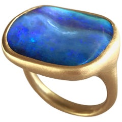 Dalben Blue Boulder Opal Yellow Gold Ring