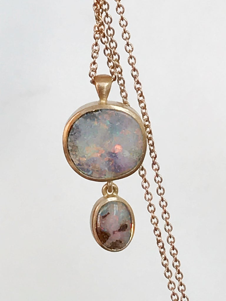 Dalben design One of a Kind 18k rose gold matte finishing necklace with two bezel-set  Australian Boulder Opals weight 3,18 carat.  pendant dimension :  width 10,4 mm (0,41 inch ) height 19,4 mm (0,76 inch ) Chain length 42 cm ( 16,5 inch )