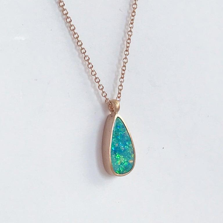 Oval Cut Dalben Design Australian Boulder Opal and Rose Gold Necklace