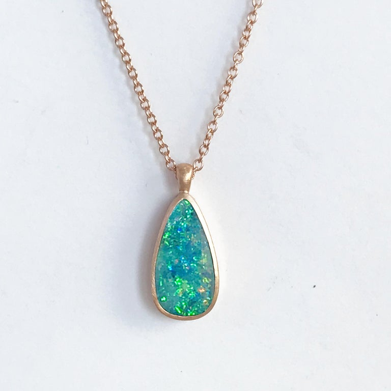Dalben Design Australian Boulder Opal and Rose Gold Necklace In New Condition In Como, IT