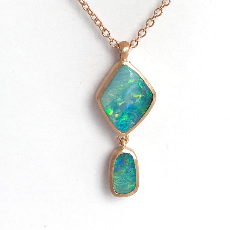 Women's Dalben Design Australian Boulder Opal and Rose Gold Necklace For Sale