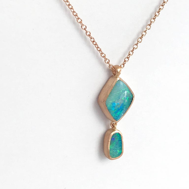 Dalben Design Australian Boulder Opal and Rose Gold Necklace For Sale 1