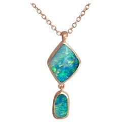 Dalben Design Australian Boulder Opal and Rose Gold Necklace