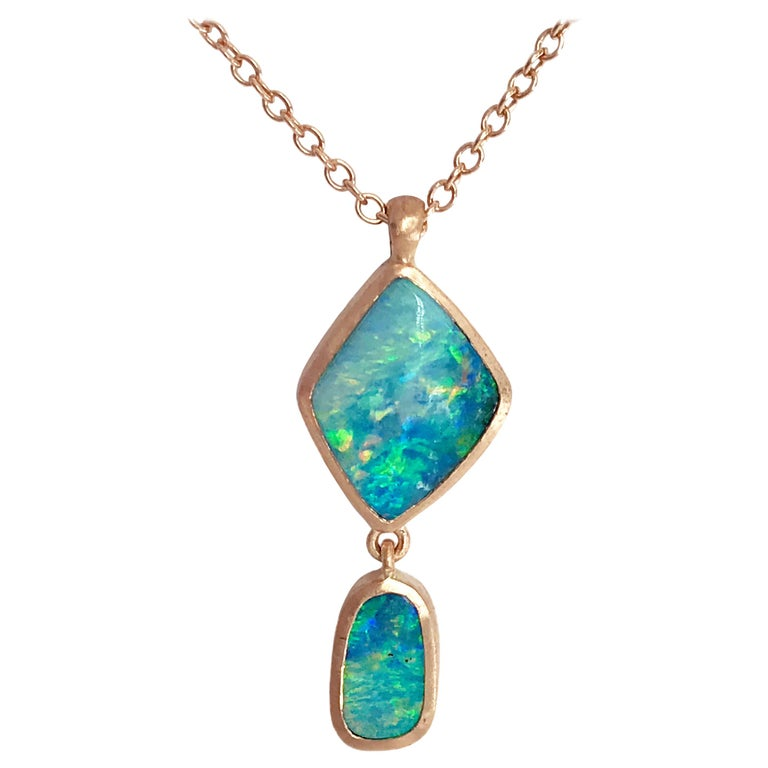 Dalben Design Australian Boulder Opal and Rose Gold Necklace For Sale