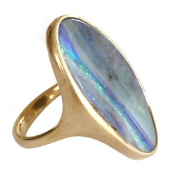 Dalben Design Big Oval Australian Boulder Opal Yellow Gold Ring