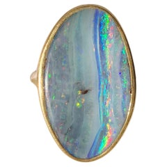 Dalben Design Big Oval Australian Boulder Opal Yellow Gold Ring
