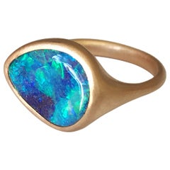 Dalben Design Blue Australian Boulder Opal Rose Gold Ring