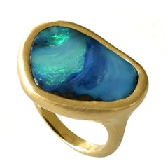 Dalben Design Blue Green Australian Boulder Opal Yellow Gold Ring