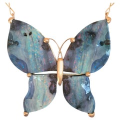 Dalben Design Butterfly Shape Australian Boulder Opal Gold Necklace
