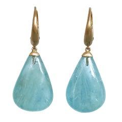 Dalben Design Drop Aquamarine Rose Gold Dangle Earring