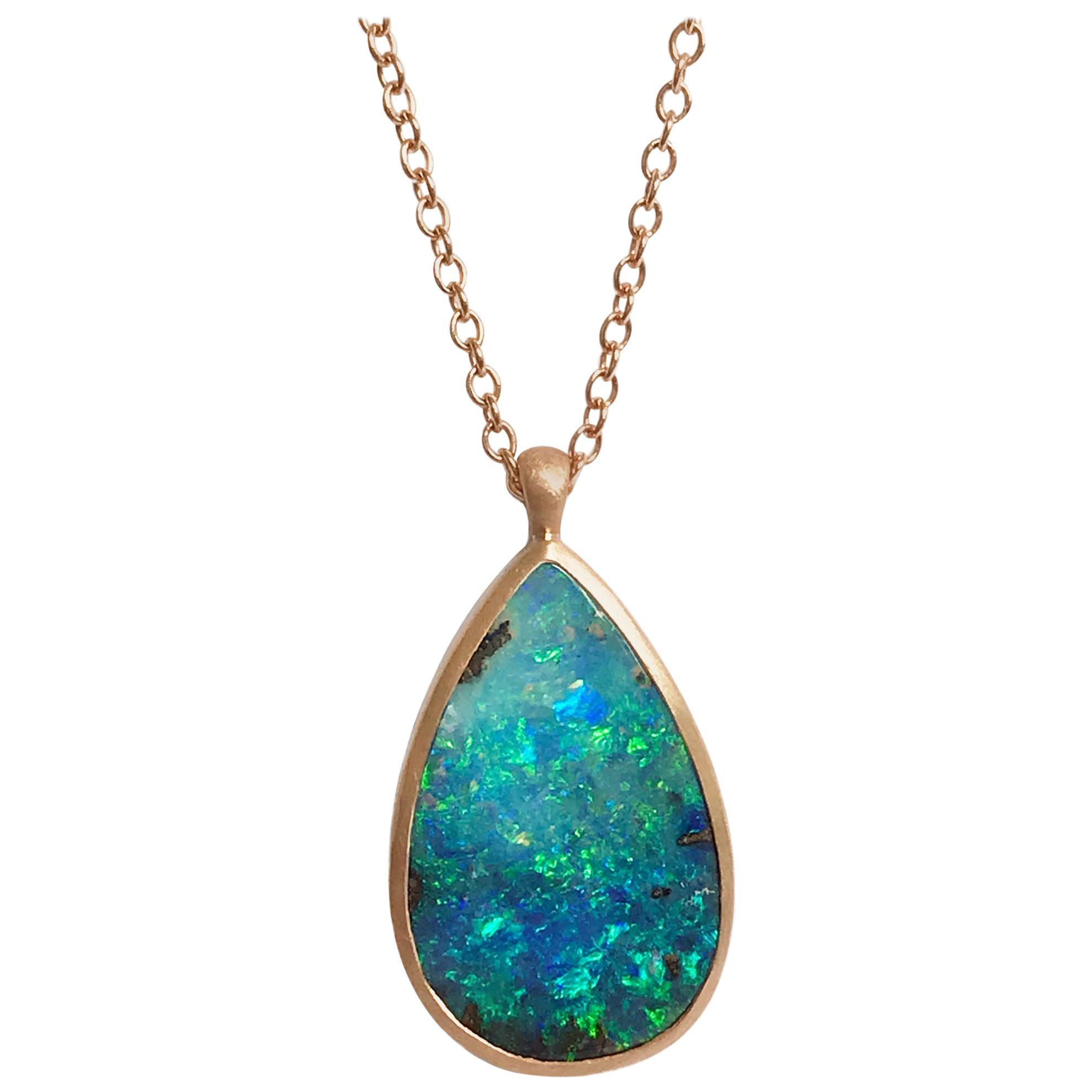Dalben Design Drop Shape Australian Boulder Opal and Rose Gold Necklace