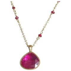 Dalben Design Drop Shape Rose Cut Slice Ruby Yellow Gold Necklace