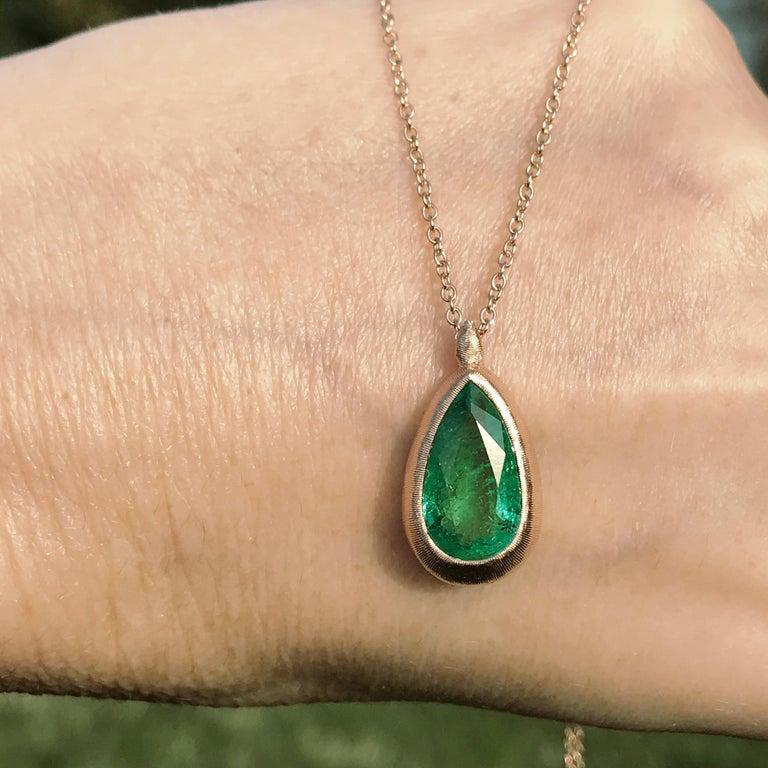 Contemporary Dalben Design Emerald and Rose Gold Necklace