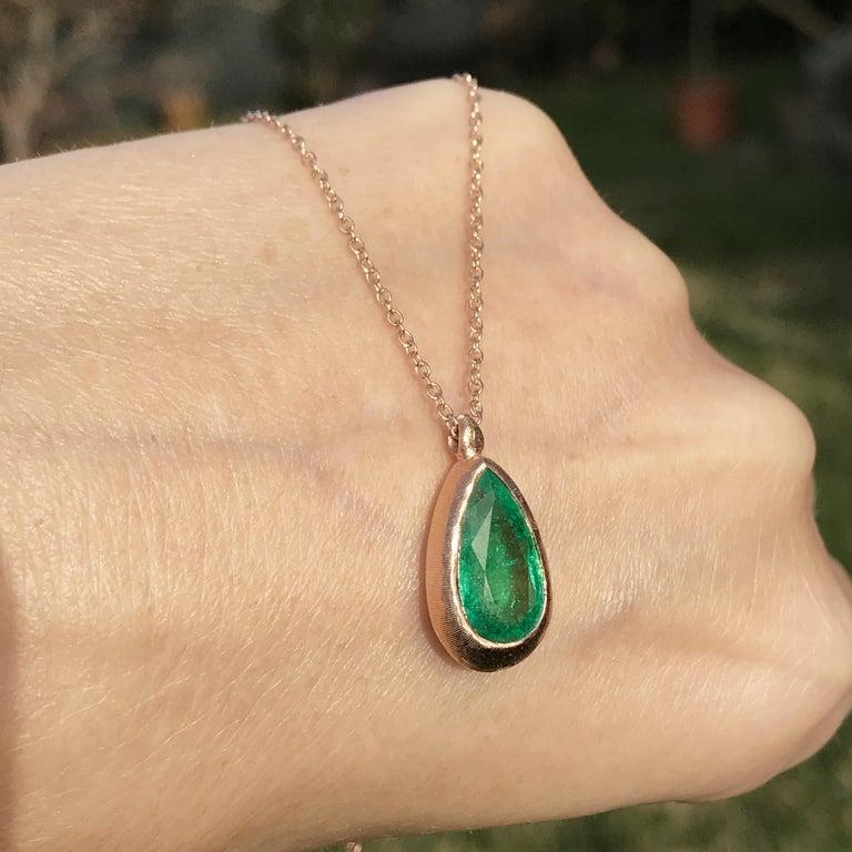 Pear Cut Dalben Design Emerald and Rose Gold Necklace