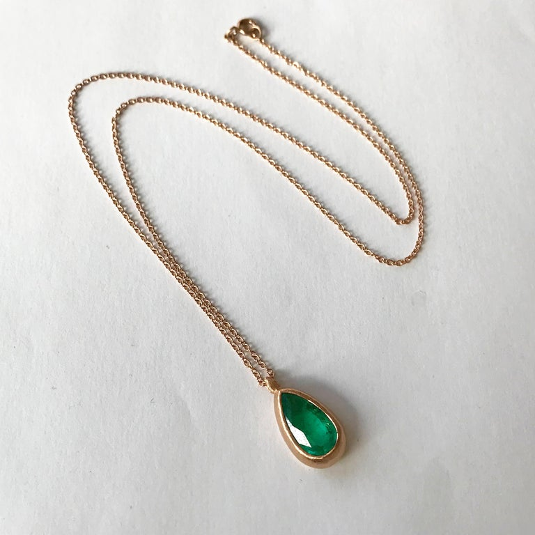 Women's Dalben Design Emerald and Rose Gold Necklace