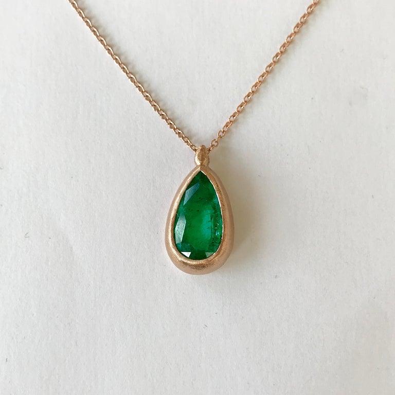 Dalben Design Emerald and Rose Gold Necklace 1
