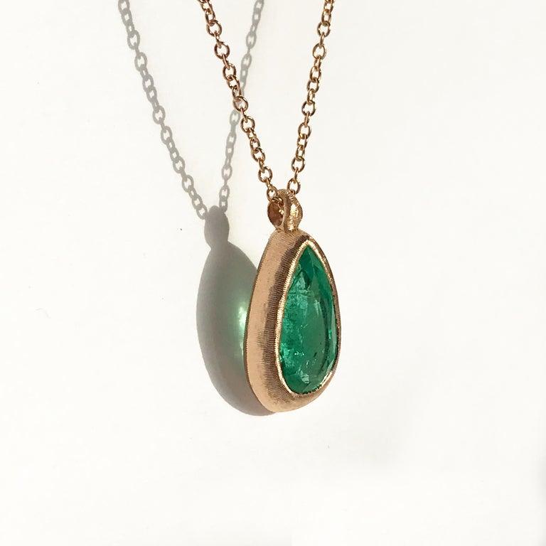 Dalben Design Emerald and Rose Gold Necklace 2