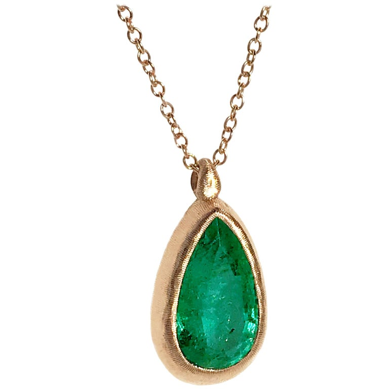 Dalben Design Emerald and Rose Gold Necklace