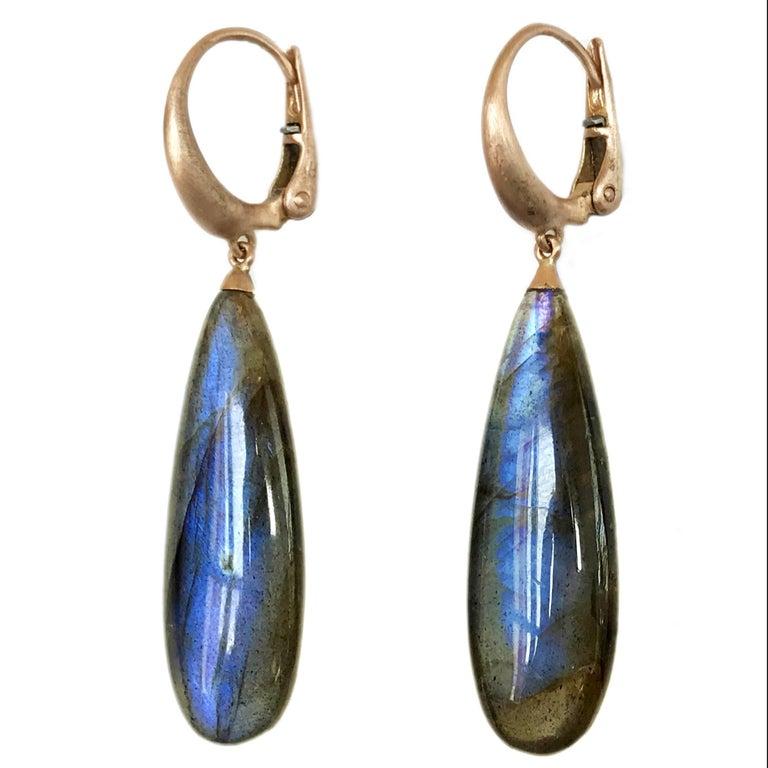Dalben Design Labradorite Rose Gold Dangle Earring