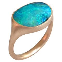 Dalben Design Light Blue Australian Boulder Opal Rose Gold Ring