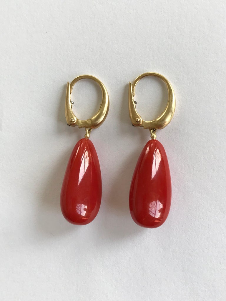 Contemporary Dalben Design Mediterranean Long Drop Red Coral Yellow Gold Dangle Earring For Sale