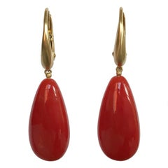 Dalben Design Mediterranean Long Drop Red Coral Yellow Gold Dangle Earring