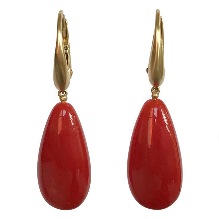 Dalben Design Mediterranean Long Drop Red Coral Yellow Gold Dangle Earring For Sale