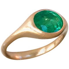 Dalben Design Oval Emerald Rose Gold Ring