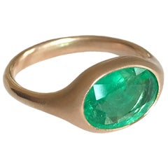 Dalben Design Oval Faceted Emerald Rose Gold Ring