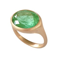 Dalben Design Oval Green Tourmaline Rose Gold Ring