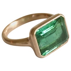 Dalben Design Rectangular Green Tourmaline Rose Gold Ring